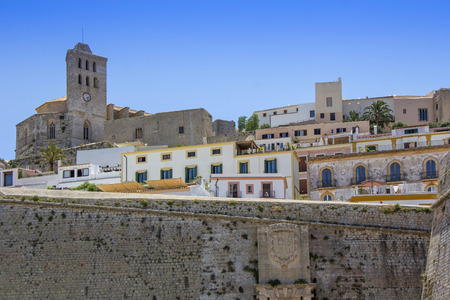 Ibiza old town, called Dalt Vila. IBIZA is one of the Balearic islands that are located in the Mediterranean Sea 스톡 콘텐츠
