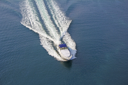 Aerial view luxury motor boat at sea
