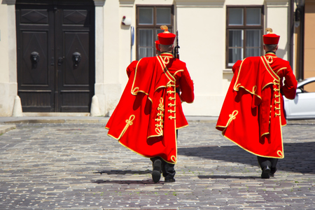 Ceremonial Changing of the Guard in Zagreb, Croatia