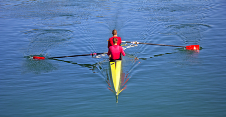 Two scull rowing competitor, rowing race two rower