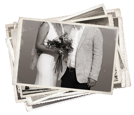 Stack of old photos Young newlywed just married