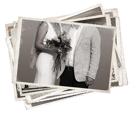 Stapel oude foto's Jong pas getrouwd net getrouwd