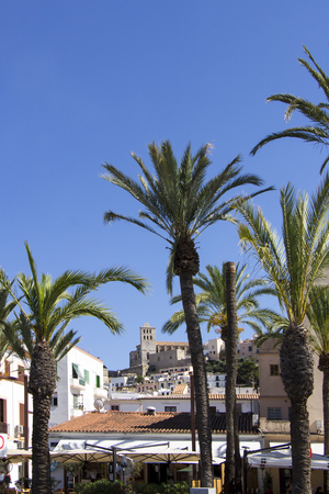 Ibiza town of Eivissa with the cathedral and old town, the Balearic islands