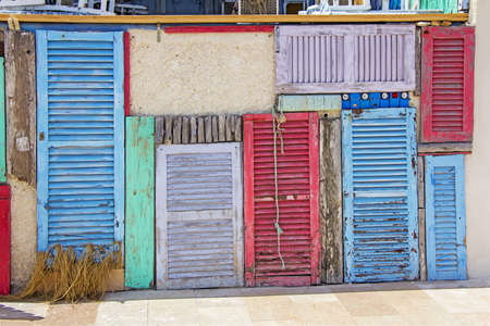 Colorful old wooden doors in Formentera near Ibiza Stockfoto