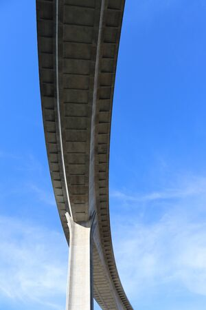 View of concrete road curve of viaduct whit blue sky background