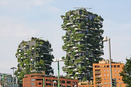 Milan, Italy - June 27, 2017: Residential buildings Bosco Verticale. Vertical Forest residential towers in the business district of Milan, Italy Redactioneel