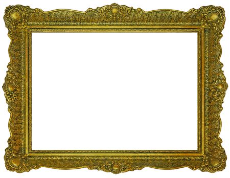 Old wooden gilded rectangle Frame Isolated on white background