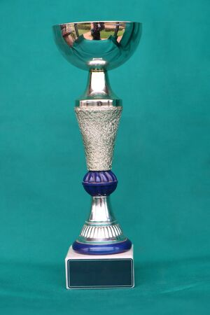 Champion cup with reflection on green background.