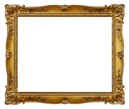 Rectangle Old gilded golden wooden frame isolated on white background Foto de archivo