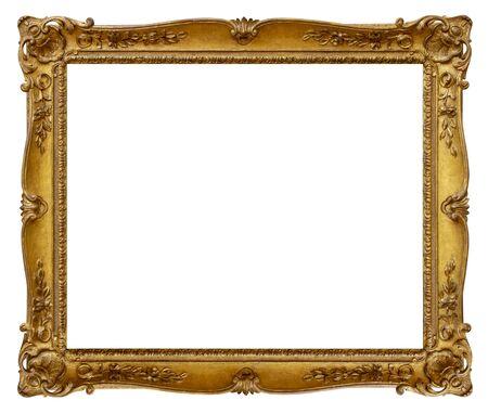 Rectangle Old gilded golden wooden frame isolated on white background Imagens