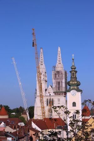 Removal part of the left tower of Zagreb Cathedral, damaged in the earthquake of March 22. 2020. The right tower itself collapsed.