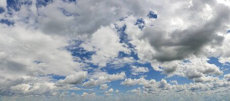 Blue sky background with white clouds panorama Stockfoto