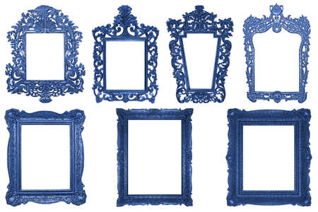 Set of rectangle Decorative vintage blue wooden frames isolated on white background