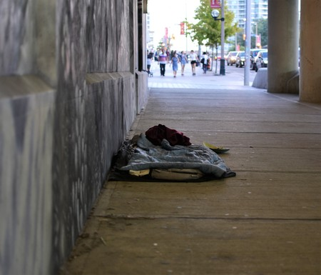 Mattress, bedding belonging to a homeless person in city of Toronto showing the rising inequality in Canada