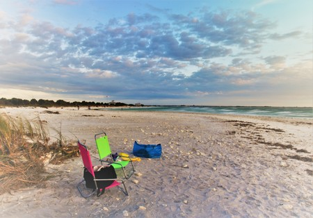 Relaxing and taking photos in Honeymoon Island Florida Banque d'images - 115820814