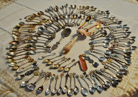 Aerial view of a Spoon Collection a common hobby Banque d'images - 118387576