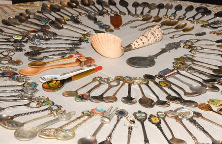 Aerial view of a Spoon Collection a common hobby Banque d'images - 118387577