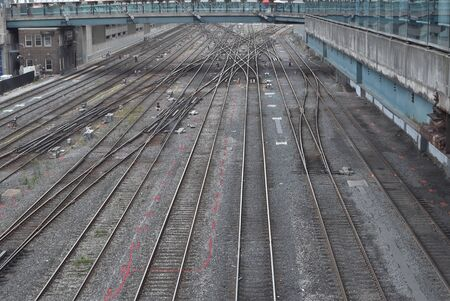 Many rail tracks similar to what path to choose in life Banco de Imagens