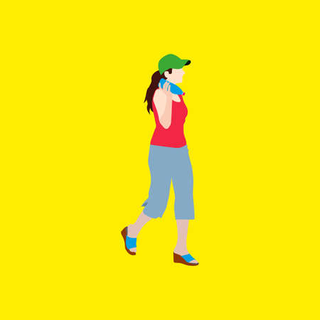 Girl in a cap and with a bottle of water