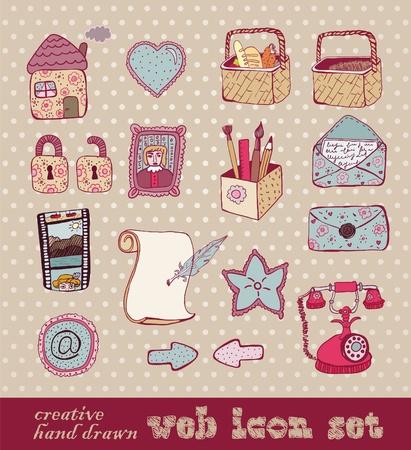 buff: conjunto de iconos de web creativo dibujado a mano