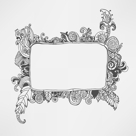 hand drawn frame: hand drawn floral frame