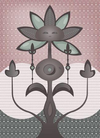 surrealistic: psychedelic fantastic flower tree  Illustration