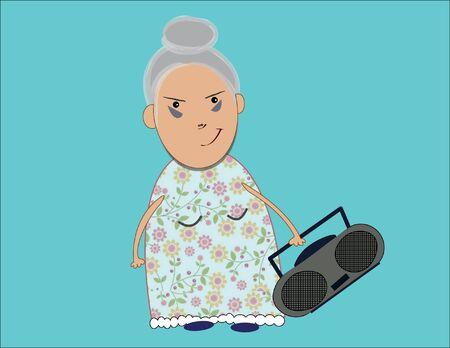 grabadora: Ilustración de la abuela con grabador