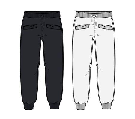 Szablony do projektowania spodni dresowych, ilustracje wektorowe, dresy