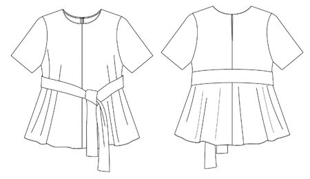 Flat Fashion Sketches: Apparel Template, vector blouse, t-shirt Vectores