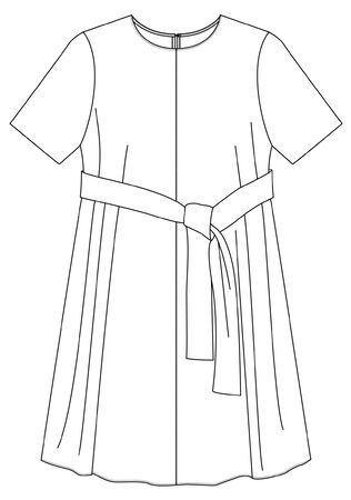 DRESS, Flat Fashion Sketches, dress Template, fashion flat technical drawing Vectores