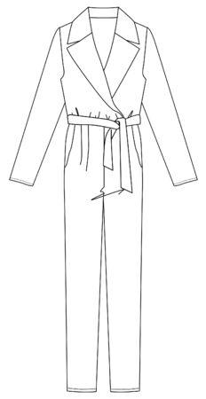 Flat Fashion Sketches: JUMPSUIT, Dress Template