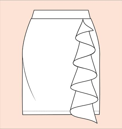 skirt, flat sketches, apparel template