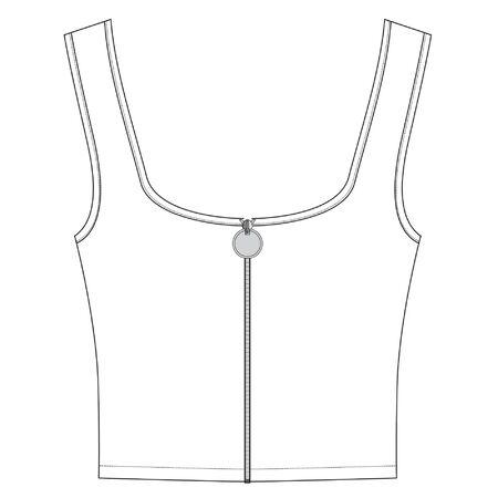 zippered jersey top, apparel template