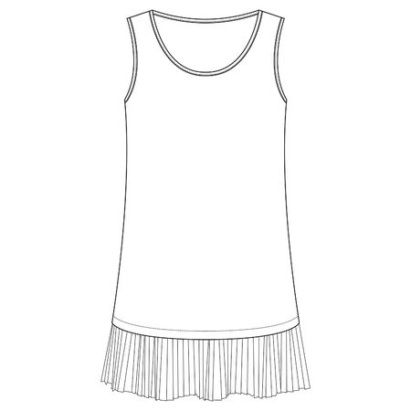 pleated detail, Dress template