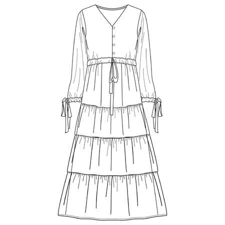 VESTIDO, bocetos planos de moda, plantillas de ropa