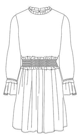 Dress, shirred dress, apparel templates, Flat Fashion Sketches