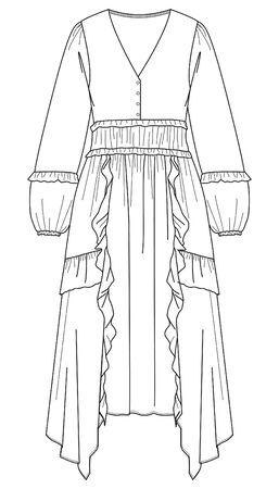 Dress, Shirred dress, Flat Fashion Sketches