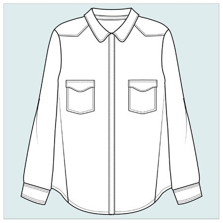 shirt drawing, flat sketches, blouse Stock Vector - 140226498