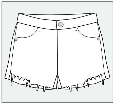 SHORT, apparel template, flat sketch