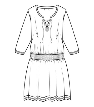 Dress, Fashion Flat Sketch Template, stock, vector