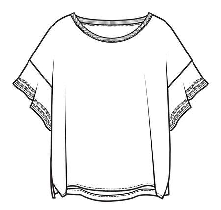 modèle de vêtements pour femmes, croquis plat