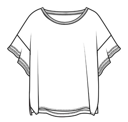 women's apparel template, flat sketch
