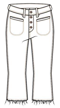 pants, Womens Fashion Flat Sketch Template