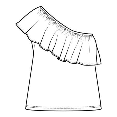 one shoulder tops, fashion flat sketch