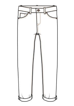 Pants Fashion Flat Sketch Template Ilustracja