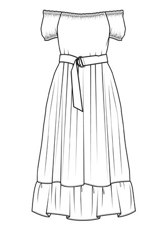 DRESS, Fashion Flat Sketches Illustration