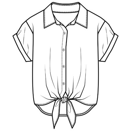 Top Fashion Flat Sketch Template vector