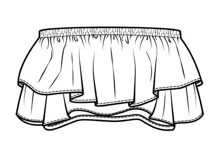 Strapless top fashion flat sketch