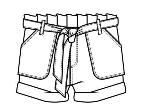 Pantalon court, modèle de croquis plat, vecteur