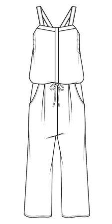 jumpsuit, Fashion Flat Sketch, apparel Templates
